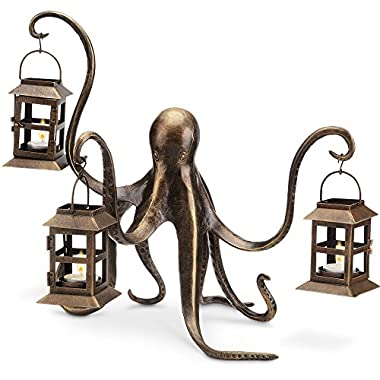 Spi Home Octopus Lantern,Brown,13.5  x 18  x 15