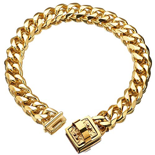 "19 mm Dog Collar 18K Gold Heavy Duty Stainless Steel Dog Luxury Training Collar Cuban Link with Durable Clasp Necklace Chain (Gold, 18inch(for 15.6""~17.5' Neck))"