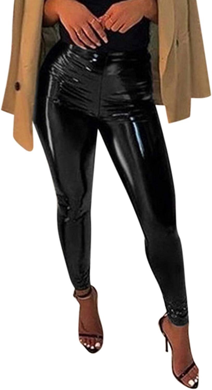 Awoscut Women's Faux Leather Leggings Purchase Leath Shiny PU Pants Fort Worth Mall Latex