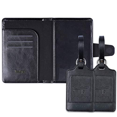 Passport Holder, Passport Cover with 2 Luggage Tags Minimalist RFID Blocking Travel Passport Wallet Document Organizer-Black