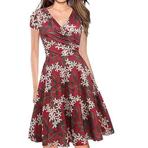 Vestidos Verano Mujer Vintage Elegantes Floral Azul y Rojo, Boho Chic Vestidos Tallas Grandes,Sexy Cuello en V Vestidos,...