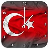 Stil.Zeit Flagge der Türkei schwarz/weiß, Wanduhr Quadratisch Durchmesser 48cm mit weißen Spitzen Zeigern & Ziffernblatt