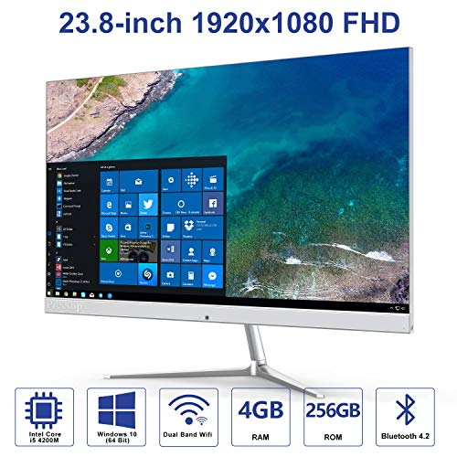 Preedip All in One Desktop Computer,Intel Core i5-4310M(Up to 3.4GHz) Windows 10 with 23.8-inch 1920x1080 FHD,4GB DDR3 256GB ROM AIO PC Support Dual Band WiFi and Bluetooth 4.2