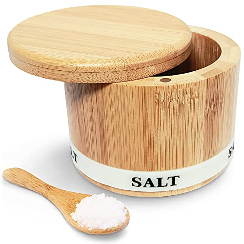 ThougrLyh Bamboo Salt Box, Salt Box With Swivel Lid With Magnetic,Salt Cellar With Lid For Storing Salt, Herbs, Spices And Small Items Spice Box,Salt Bowls With Luminous (Salt box and spoon)