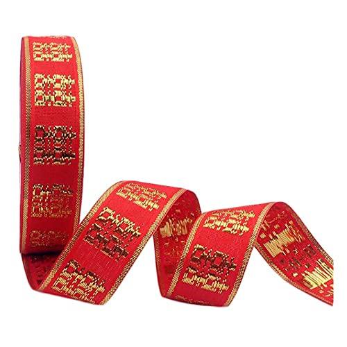 Pigeon Fleet 2 Rollos de Cinta roja Dorada XI Character Gold Edge Cinta de Boda China Cinta de Regalo para Envolver Flores
