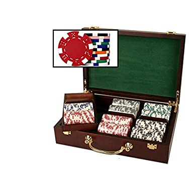 Glossy Wooden Poker Chip Case - Holds 300 Chips, 2 Decks of Playing Cards and Dice