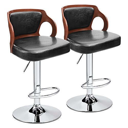 Homall Bar Stool Walnut Bentwood Adjustable Height Leather Bar Stools with Black Vinyl Seat Extremely Comfy with Seat Back Pad Walnut Set of 2
