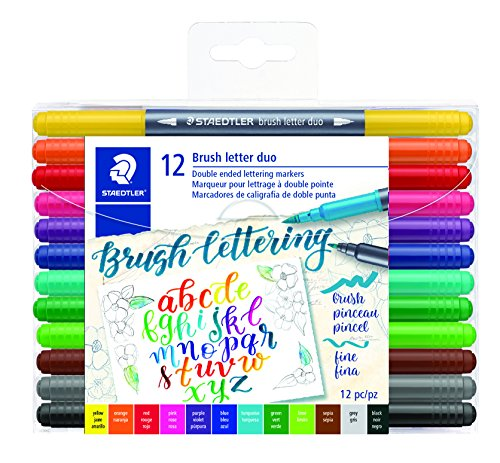 Staedtler Double-ended Brush Marker Brush Letter Duo, Creative Lettering, Flexible and Fine Tip, Blendable Ink, Set of 12 Assorted Colors, 3004TB12A6