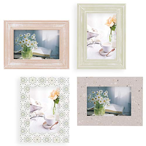 4x6 Picture Frames Set of 4 Wall Decor - Wooden, Turquoise, White & Gray - Table Top & Wall Mount Photo Frame Sets For Office Kitchen Gallery - Vertical & Horizontal - Rustic Home Decor Picture Frame