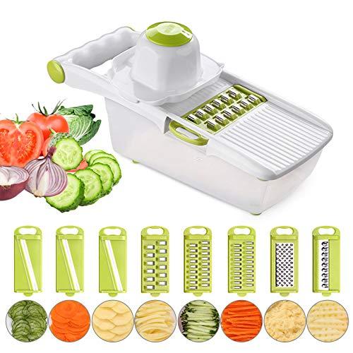 HvxMot Rebanador de Verdura, 8 en 1 Picadora de Verduras, Rayador de Cocina, con 8 Cuchillas Intercambiables, 1 Recipiente para Alimentos y 1 Protector de Manos, para Vegetale, Fruta (28 x 10 x 9,5cm)