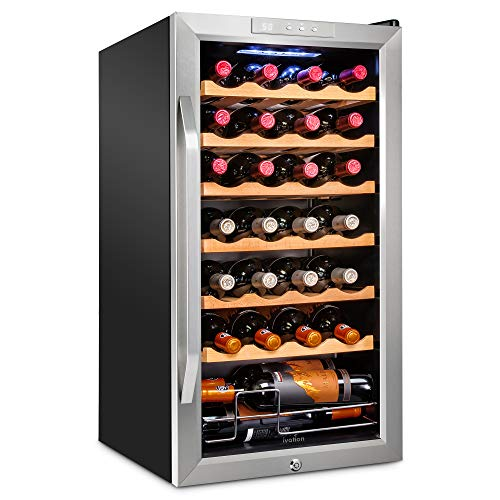 Ivation 28 Bottle Compressor Wine Cooler Refrigerator w/Lock | Large Freestanding Wine Cellar For Red, White, Champagne or Sparkling Wine | 41f-64f Digital Temperature Control Fridge Stainless Steel
