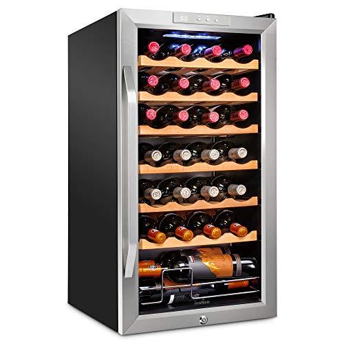 Ivation 28 Bottle Compressor Wine Cooler Refrigerator w/Lock | Large Freestanding Wine Cellar For Red, White, Champagne…