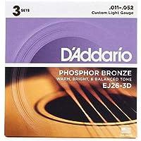 D'Addario EJ26-3D アコースティックギター弦/3セットパック