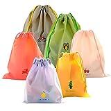 Juego de 6 Bolsas de Cuerdas Coolzon® Saco de Deporte Bolso de Gimnasio PE Plástico Impermeable Seca de Viaje Gymsack Drawstring Bags