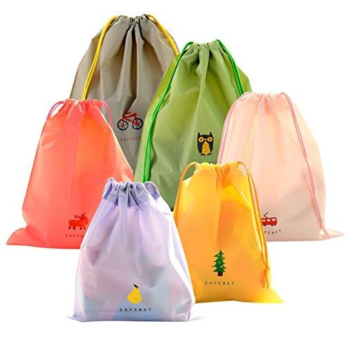 Set di 6 Borsa Morbida Impermeabile Borse Da Viaggio Coolzon® Sacca da Ginnastica del PE plastica Sacchetto Portatile a Spalla Per Palestra Drawstring Bag Gymsack