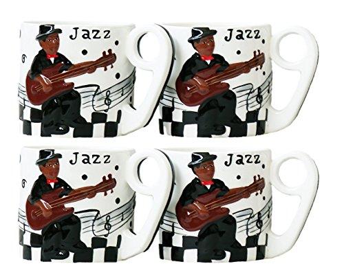 ACK Mammy Jazz Band, Hand Painted Ceramic, 4 Piece, Mug Set, 87515