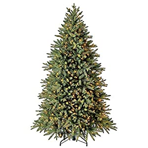 Evergreen Classics 6.5 ft Pre-Lit Colorado Spruce Quick Set Artificial Christmas Tree, Clear Lights