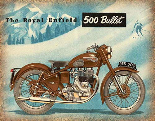 Royal Enfield Motorcycle Sign Cast Iron Vintage Retro Advertising Plaque 30cm wide