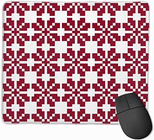 N/A Red Latvian Saulite Sun Motif Gaming Mouse Mat Pad Mouse Mat Non-Slip Rubber Base Surface for Computer PC Keyboard and Desk