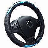 ZATOOTO ハンドルカバー 軽自動車 本革 ステアリングカバー カーボン調 滑りにくい グリップ感抜群 おしゃれ 四季汎用 sサイズ ブルー LY125-L
