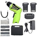 skrskr Destornillador eléctrico inalámbrico de liberación rápida de 6.0 Nm 2x Iones de litio recargables de 1500 mAh con 41 accesorios 7 Ajuste de torque Mango de 2 posiciones con luz LED Indicador de