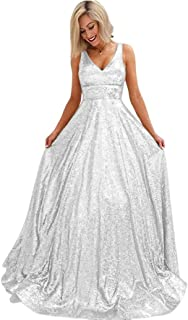 JONLYC Women's A-Line Sleeveless V-Neck Sequined Prom Evening Dress Bridesmaid Gowns Long