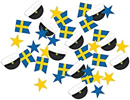 amscan konfetti Sverige 15 gram papper blå/gult