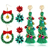 NVENF Christmas Earrings for Women Xmas Wreath Gift Bow Earrings Long Tassel Christmas Tree Earrings Festive Gifts for Girls Holiday Accessory (Style A - Christmas Tree)