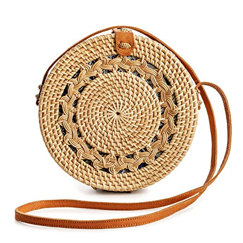 ✔ HANDMADE IN BALI -- Woven by Hand   Supports the art of traditional Balinese weavers with fair wages ✔ PREMIUM QUALITY -- Never Synthetic   Made from real natural grasses and genuine leather   Designer quality rattan handbags at an approachable pri...