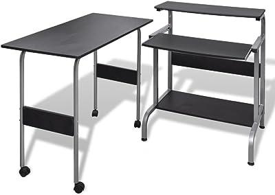 Festnight Computer Desk Computer Table Study Desk Office Furniture Adjustable Workstation Black