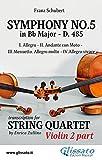 Symphony No.5 - D.485 for String Quartet (Violin 2): in four movements (Symphony No.5 by Schubert - String Quartet) (English Edition)