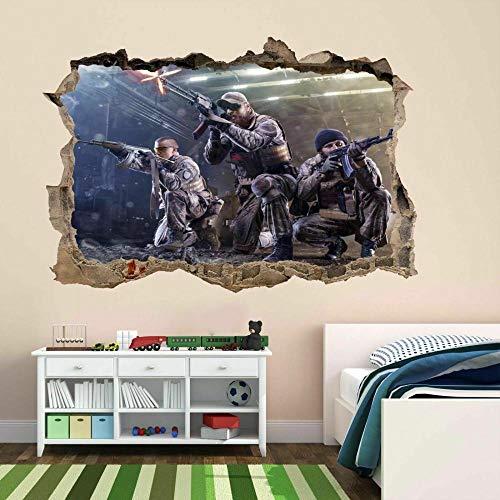 Pegatina de paredmilitarCalcomanía mural Niños Niños Habitación CP58-3D - Mural impresión cartel decoración - 60x90cm