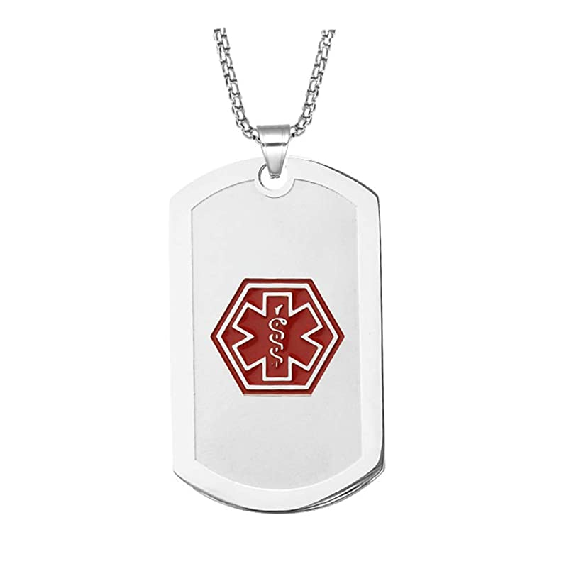 BAIYI Medical Alert ID Necklace Stainless Steel Matte Dog Tag for Men Women 24 inch Free Engraving