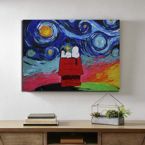 QianLei Abstrakte Snoopy Ölgemälde Moderne Hund Poster und Drucke Leinwand Gemälde Bilder Wanddekor -60x90cm ohne Rahmen