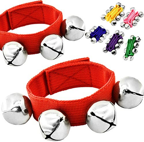 MUSICUBE Band Wrist Bells 6 Pairs 12 Pcs hand percussion jingle bells ankles bells Kids musical product image