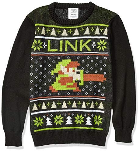 Nintendo Suéter Feo de Navidad para niños, Eslabón/Negro, 16