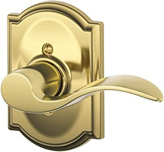 Schlage Accent Lever with Camelot Trim Non-Turning Lock in Bright Brass - Right Handed - F170 ACC 605 CAM RH