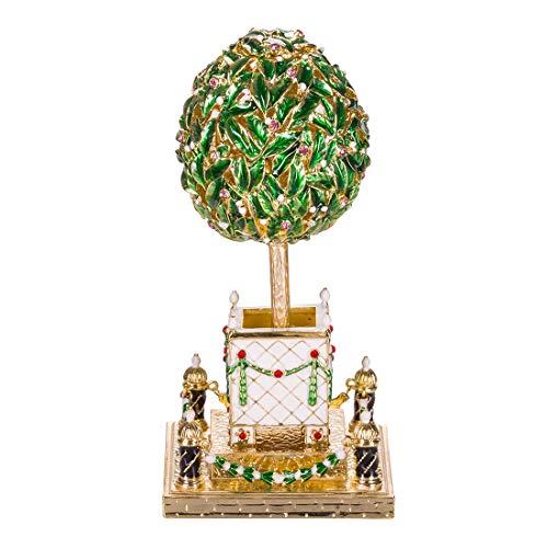 danila-souvenirs Russische Fabergé-Stil Ei/Figur/Schmuckkästchen Lorbeerbaum (Orangenbaum) mit einem Vogel 16 cm grün