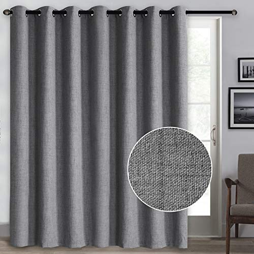 Rose Home Fashion 100% Blackout Curtains, Sliding Door Curtains for Living Room Linen Textured Patio Door Curtains Drapes Extra Wide Grommet Curtain Panel-1 Panel (100x84 Dark Grey)