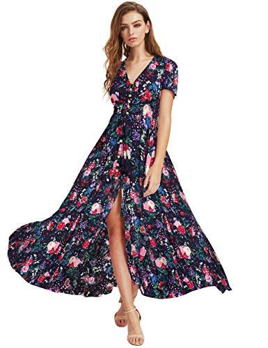 Milumia Women Button Up Floral Print Party Split Flowy Maxi Dress A Multicolour Large