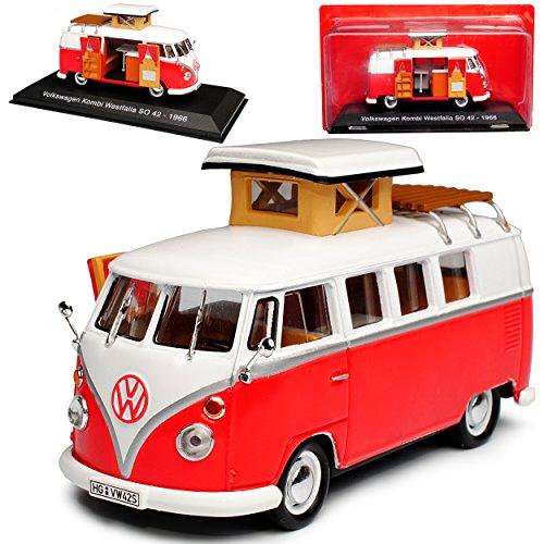Ixo Volkwagen T1 Rot Weiss Westfalia Samba Bully Bus 1950-1967 Wohnwagen Camping 1/43 Modell Auto mit individiuellem Wunschkennzeichen
