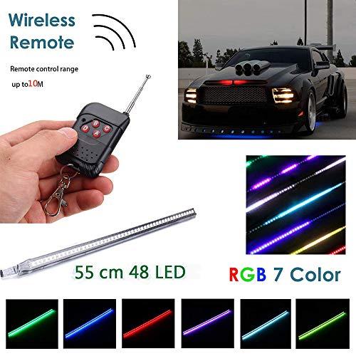 SHADIOA Neonspots & NeonstäbeAuto Strobe-Beleuchtungsstreifen-Kit, Knight Night Rider Light Bar 7 Farbe 147 Modi 48 -LED-RGB-LED-Blitzlichtblinker-Beleuchtungsstreifen-Kit 12 V