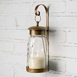 Attractive and Graceful Quart Mason Jar Metal Hanging Wall Sconce, Candle Lantern - Antique Brass Candle Holder with Clear Glass, Rustic Indoor/Outdoor Light for Your Home Decor