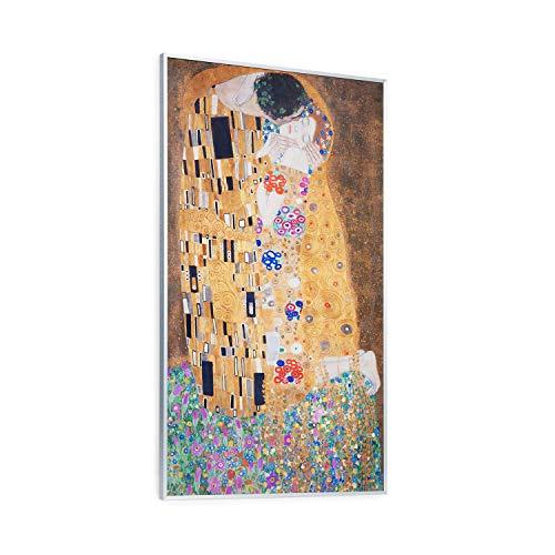 Klarstein Wonderwall Air Art 60 Infrarotheizung, 101 x 60 cm, 600 W, Design-Oberfläche, Carbon Crystal Infrared, IR ComfortHeat, ZeroNoise Infrared, ideal für Allergiker, Thermostat, Kuss Motiv, weiß