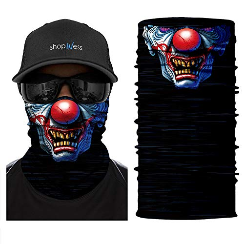 ShopINess Cache-Cou/Foulard Multifonctions - Crâne/tête de Mort Clown