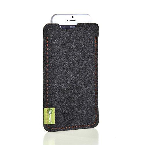 Almwild® Hülle, Tasche für Apple iPhone 8 Plus, 7Plus, 6 Plus MIT Apple Leder Hülle/Silikon Hülle. Aus Natur- Filz, in Schiefer- Grau, Schwarz. Handyhülle in Bayern handgefertigt.