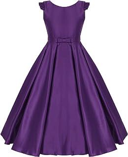 2f2acda438cf9 IEFIEL Fille Robe Soirée Enfant Robe Cérémonie Mariage Fille Robe Princesse  Papillon en Satin Robe Carnaval