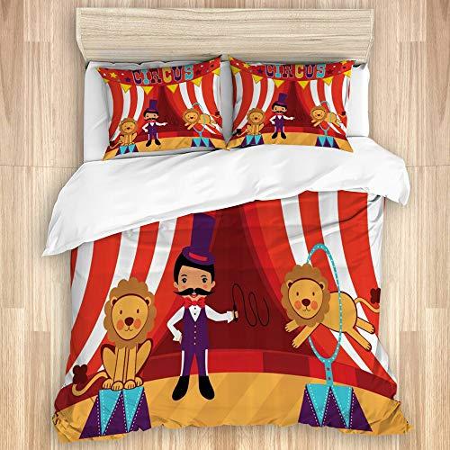 Juego de Funda de Edredón,Domador de Circo y león Actuación de Circo Divertida celebración de Imagen Decorativa de Fiesta,Microfibra 1 Sábana de Cama 140x200 + 2 Fundas de Almohada 80x50,Individual