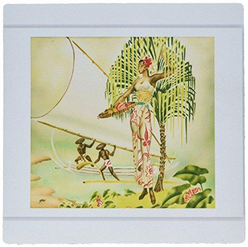 3dRose LLC mp 184265_1 Mauspad, Motiv Frau und Männer im indianischen Hawaiianischen Kleid