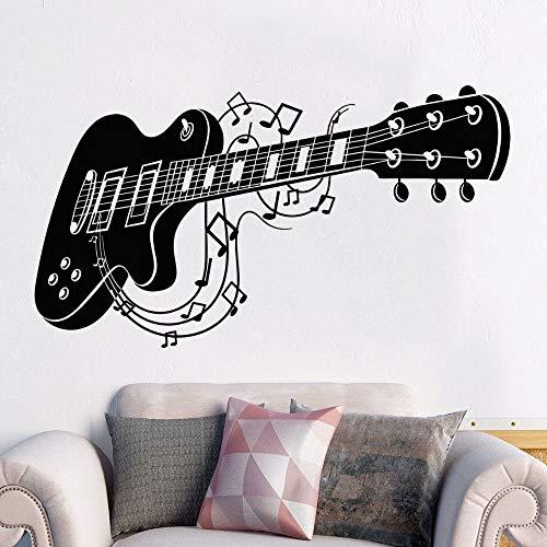 wZUN Detaillierte Gitarre und Musiknoten Wandaufkleber Musikinstrument Familie und Musikzimmer Dekoration 77x42cm